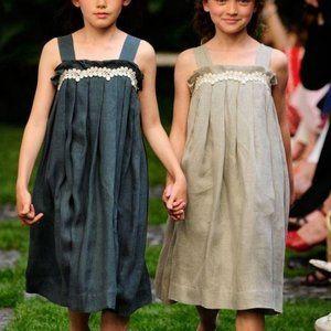 Bonpoint Linen Summer Midi Ruffle Lace Dress Teal
